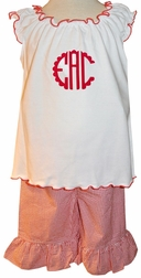 Girl's Monogrammed Red Ruffle Shirt and Gingham Capris Outfit