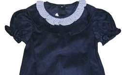 Zuccini Girl's Monogrammable Navy Corduroy and Gingham Ruffle Neck Bubble