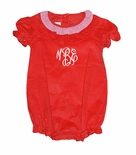 Zuccini Girl's Monogrammable Red Corduroy and Gingham Ruffle Neck Bubble