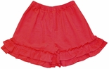 Zuccini Girl's Red Ruffle Hem Knit Shorts