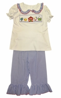 Zuccini Girl's Smocked School Shirt and Pants Outft