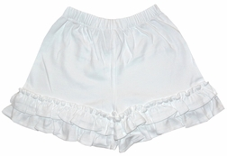 Zuccini Girl's White Knit Ruffle Hem Shorts