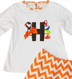 Zuccini Girl's White Monogrammed or Applique Bell Sleeve Shirt and Orange Chevron Pants