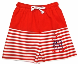Zuccini Monogrammable Red and Whte Boy's Swimsuit