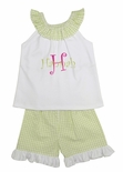Zuccini Monogrammed Lime Seersucker Shorts Set for Girls