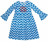 Zuccini MONOGRAMMED Turquoise Chevron Bell Sleeve Dress