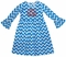 Zuccini Monogrammable Turquoise Chevron Bell Sleeve Dress