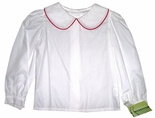 Zuccini Girl's Blouse in White with Red Piping, Long Sleeves & Collar