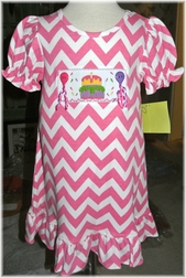 Zuccini Smocked Birthday Cake and Balloons Dress