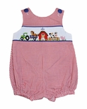 Zuccini Smocked Farm Animals Bubble for Baby Boys