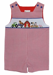 Zuccini Smocked Farm Animals Shortall/John John for Boys