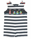 Zuccini Smocked Sailboats and Lighthouse on Navy Boy's John John