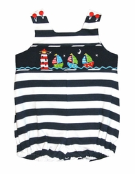 Zuccini Smocked Sailboats Navy Stripe Bubble for Baby Boys