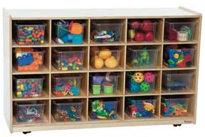 20 Tray Mobile Shelves Island w/ Clear Trays<br>