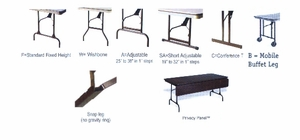 "30"" x 96"" Rectangular ABS Plastic Folding Table"