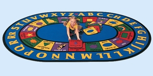 "6'9"" x 9'5"" Oval Bilingual Rug"