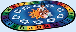 """6'9"""" x 9'5"""" Oval Sunny Day Learn and Play"""