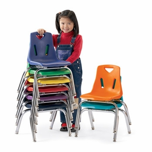 """6 Pack of 14"""" Plastic Chairs with Chrome Legs"""