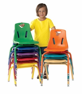 """6 Pack of 14"""" Plastic Chairs with Powder Coated Legs"""