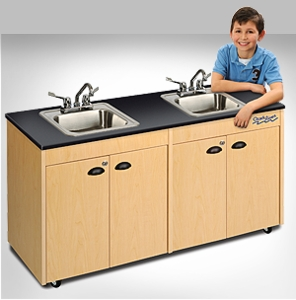 Child Height Two-Station with Single Stainless Steel Basin <br>