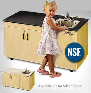 Child Height with Single Stainless Steel Basin and Storage <br>