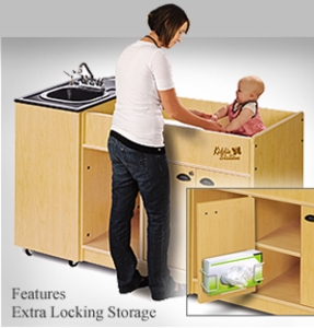 Diaper Changer with Integrated ABS Top and Basin <br>