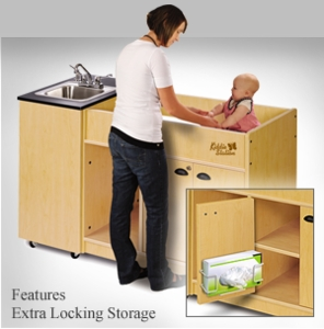 Diaper Changer with Single Stainless Steel Basin <br>