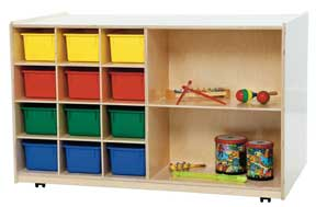 Double-Sided Mobile Storage w/ 12 Assorted Trays<br>