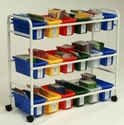Leveled Reading Book Browser Cart with 18 Small Book Tubs