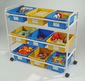 Multi-Purpose Cart with 5 blue and 4 yellow open tubs <br>