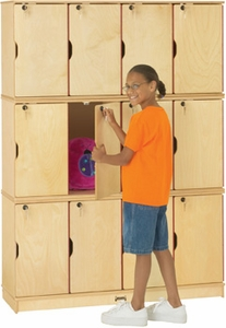 Triple Stack Wood Locker with Lock<br>