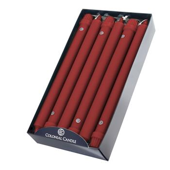 Colonial Candle - 12in Classic Tapers - Red