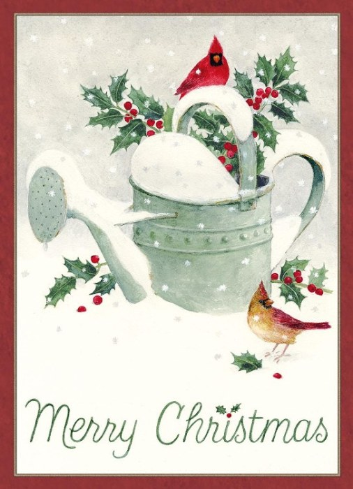 "Legacy Boxed Christmas Cards - ""Winter Watering Can"""