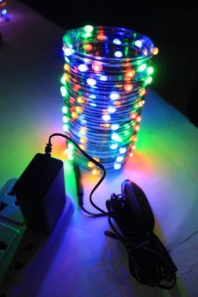 LED Wire String Lights - Multi Color LED - Battery/Green Wire - Commercial Grade Indoor/Outdoor - Set of 96