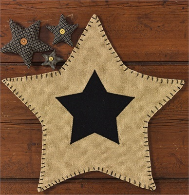 "Accent Mat - ""Burlap Star"" - Black"