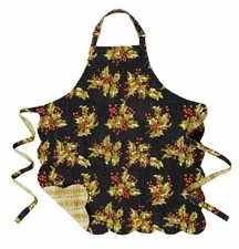 """Apron - """"Holly on Black Reversible Quilted Apron"""""""