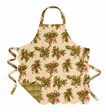 """Apron - """"Holly on Cream Reversible Quilted Apron"""""""