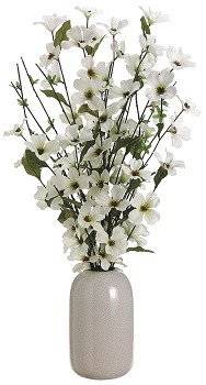"Artificial Arrangement - ""Dogwood In Ceramic Pot"""