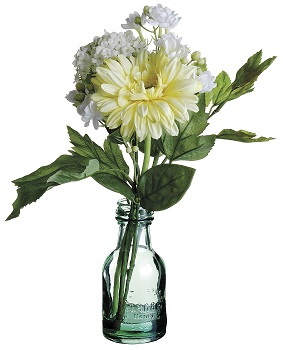 "Artificial Arrangement - ""Gerber Daisy & Hydrangea - Yellow & White"""