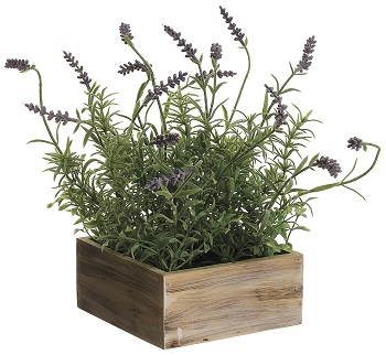 "Artificial Arrangement - ""Lavender In A Wood Box Arrangement"""