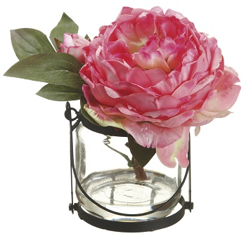 "Artificial Arrangement - ""Peony In A Glass Vase"" - Pink"
