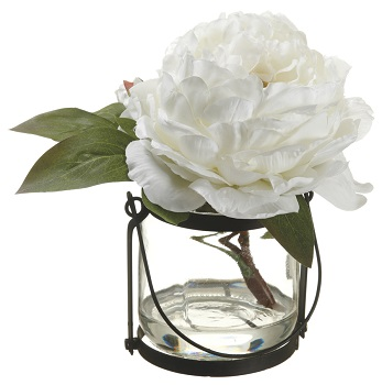 "Artificial Arrangement - ""Peony In A Glass Vase"" - White"