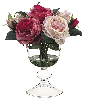 "Artificial Arrangement - ""Roses In A Glass Vase"""