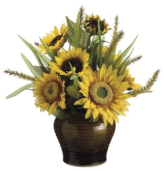 "Artificial Arrangement - ""Sunflower & Foxtail"" - Yellow"
