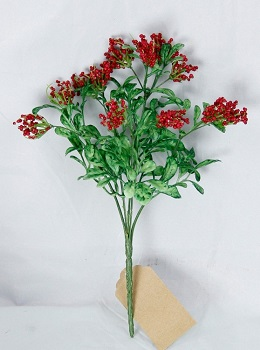 "Artificial Bush - ""Boxwood & Red Berry"""
