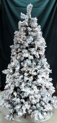 "Artificial Christmas Tree - ""Pre-lit LED Snowy Pine Tree"" -  6 ft."