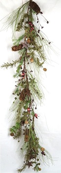 "Artificial Garland - ""Rosehip & Pine Garland"" - 4 ft"