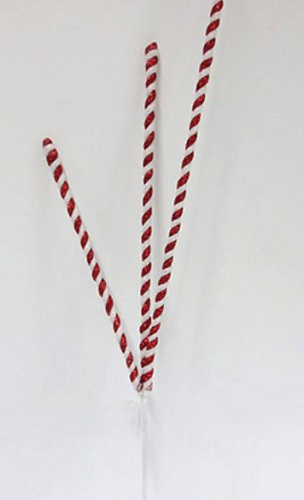 "Artificial Stem - ""Red And White Candy Stem"""