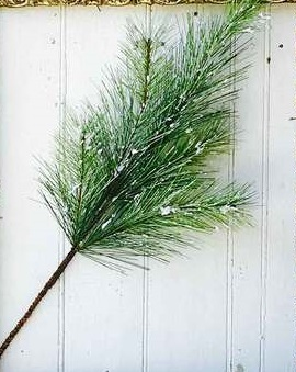 "Artificial Stem - ""Silver Fir With Snow"" - 24"""