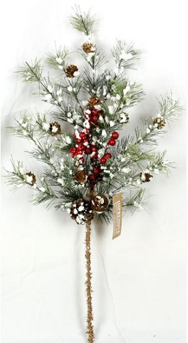 "Artificial Stem - ""Snowy Brush Pine Spary"" - 26"""